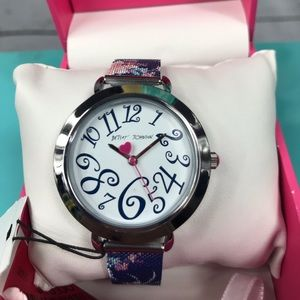 Betsey Johnson Floral Mesh Strap Navy Blue Watch